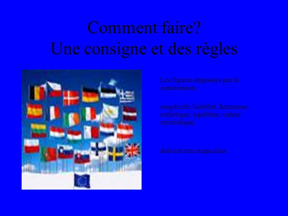 Comment faire? Une consigne et des règles Les figures imposées par la commission : simplicité, lisibilité, harmonie, esthétique, équilibre, valeur sym