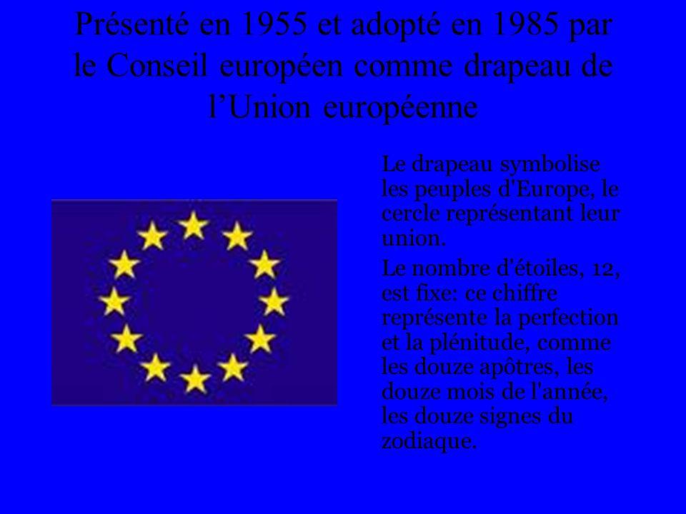 Présenté en 1955 et adopté en 1985 par le Conseil européen comme drapeau de lUnion européenne Le drapeau symbolise les peuples d'Europe, le cercle rep