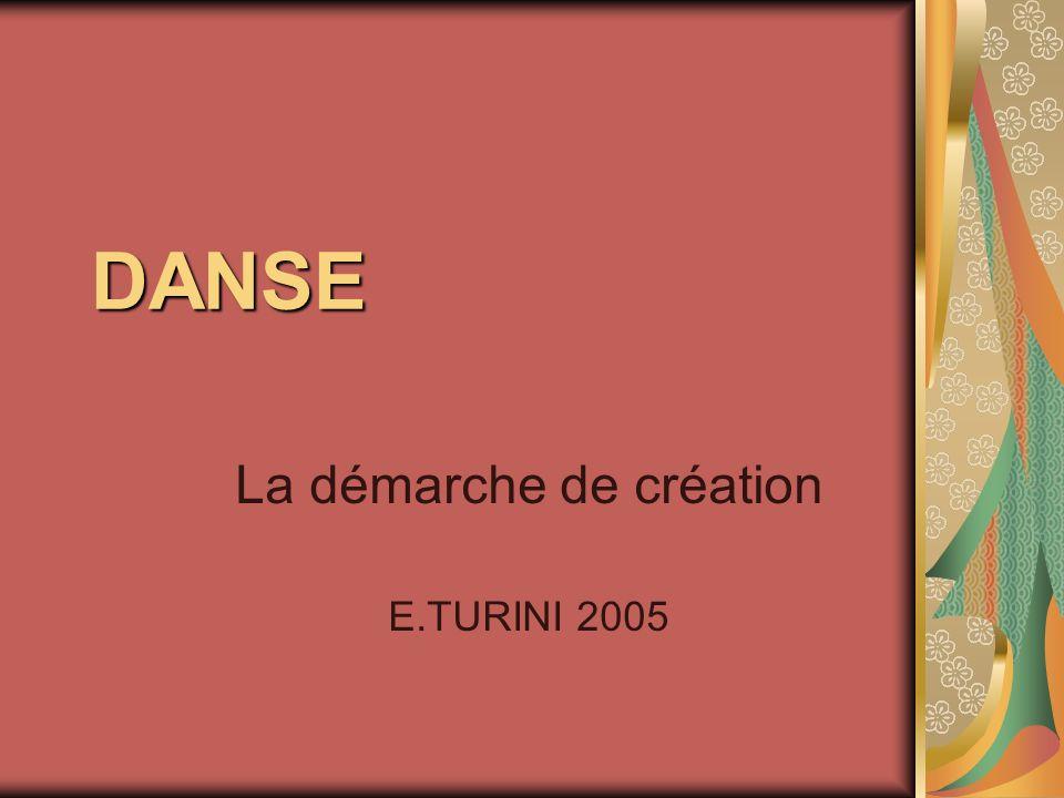 DANSE La démarche de création E.TURINI 2005