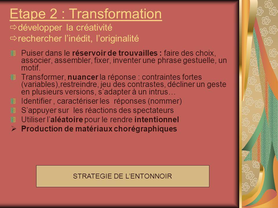 STRATEGIE DE LENTONNOIR Etape 2 : Transformation développer la créativité rechercher linédit, loriginalité Puiser dans le réservoir de trouvailles : f