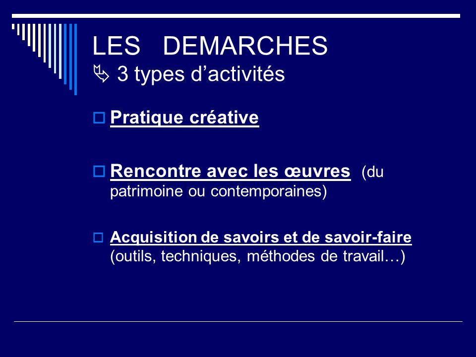 LES DEMARCHES 3 types dactivités Pratique créative Rencontre avec les œuvres (du patrimoine ou contemporaines) Acquisition de savoirs et de savoir-faire (outils, techniques, méthodes de travail…)