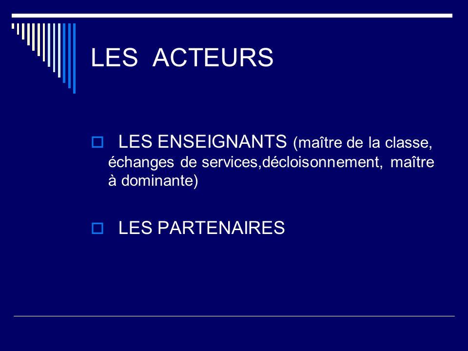 LES ACTEURS LES ENSEIGNANTS (maître de la classe, échanges de services,décloisonnement, maître à dominante) LES PARTENAIRES