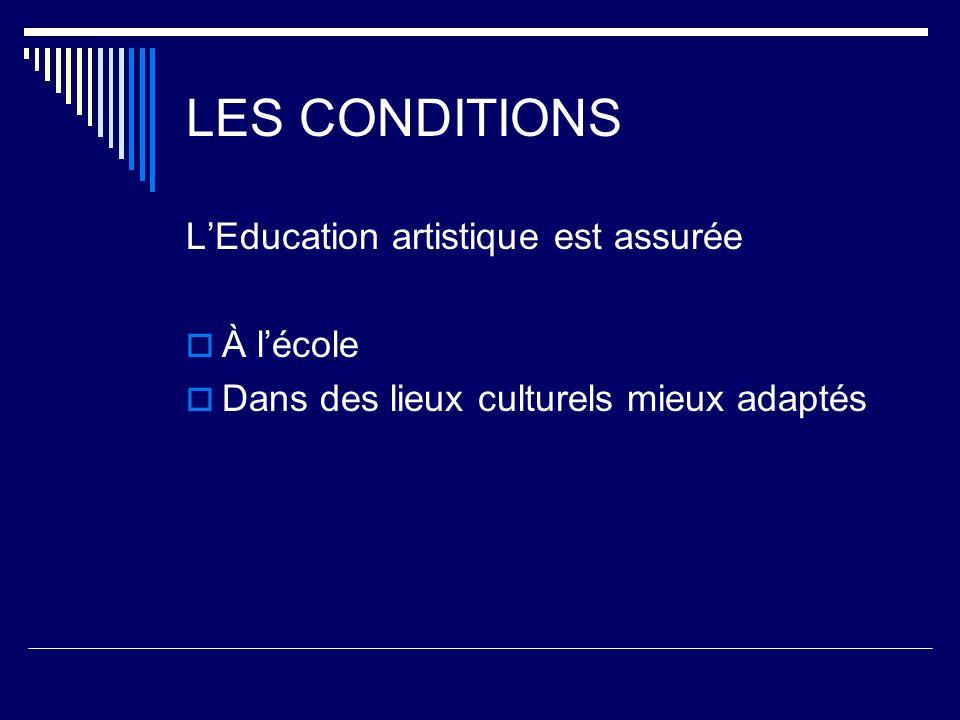 LES CONDITIONS LEducation artistique est assurée À lécole Dans des lieux culturels mieux adaptés