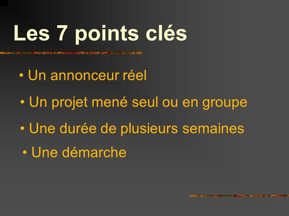 Les 7 points clés Un annonceur réel Un projet mené seul ou en groupe Une durée de plusieurs semaines Une démarche