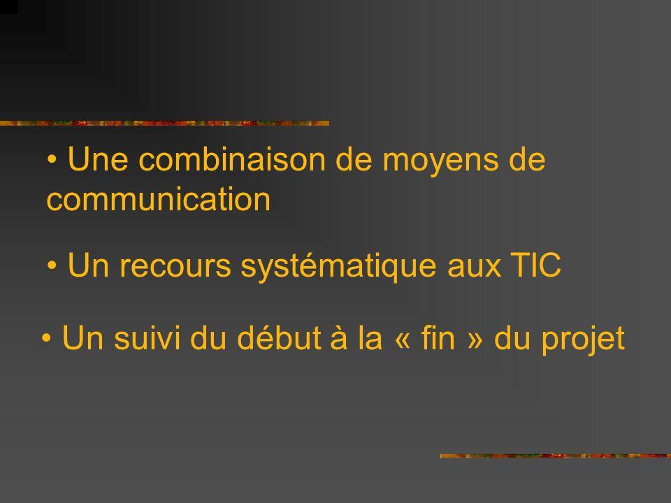 Une combinaison de moyens de communication Un recours systématique aux TIC Un suivi du début à la « fin » du projet