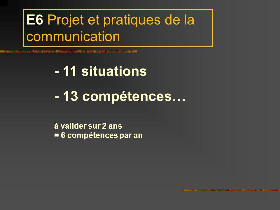 E6 Projet et pratiques de la communication - 11 situations - 13 compétences… à valider sur 2 ans = 6 compétences par an