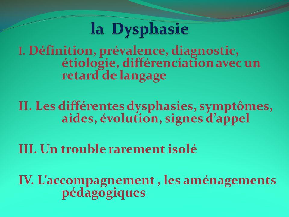I. Définition, prévalence, diagnostic, étiologie, différenciation avec un retard de langage II. Les différentes dysphasies, symptômes, aides, évolutio