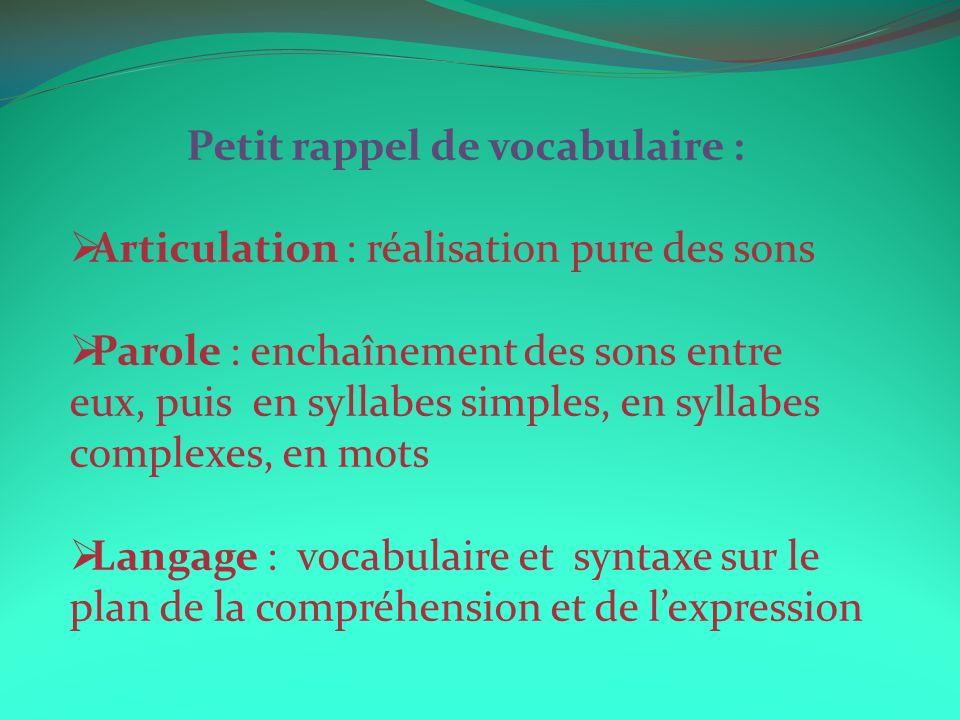 Petit rappel de vocabulaire : Articulation : réalisation pure des sons Parole : enchaînement des sons entre eux, puis en syllabes simples, en syllabes