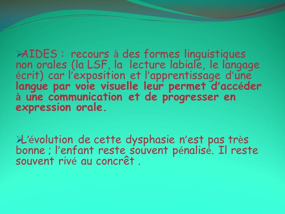 AIDES : recours à des formes linguistiques non orales (la LSF, la lecture labiale, le langage é crit) car l exposition et l apprentissage d une langue