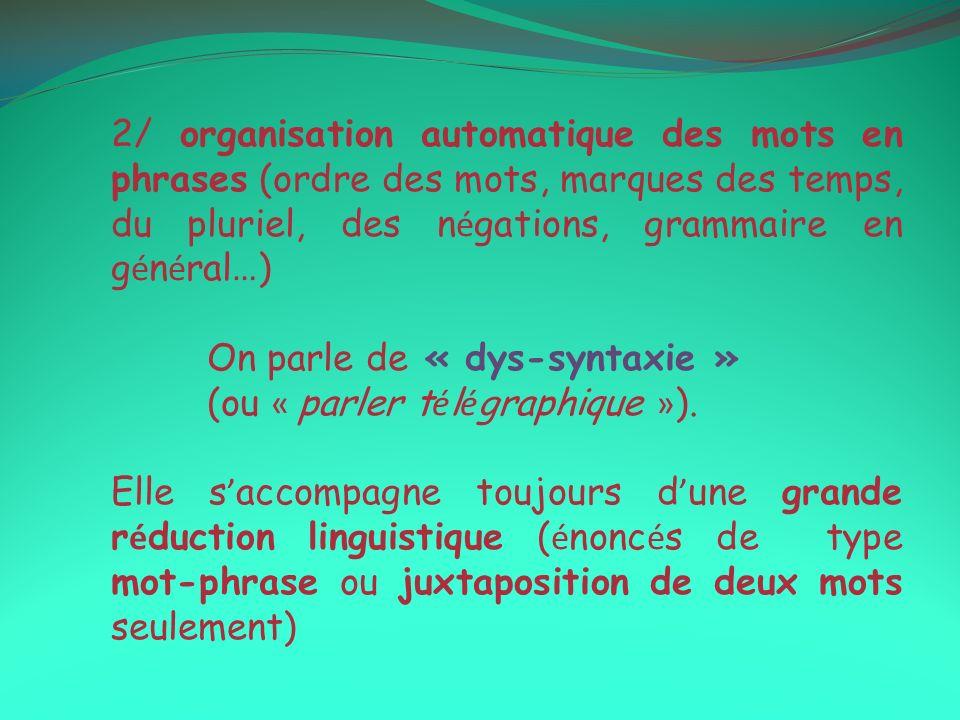 2/ organisation automatique des mots en phrases (ordre des mots, marques des temps, du pluriel, des n é gations, grammaire en g é n é ral … ) On parle de « dys-syntaxie » (ou « parler t é l é graphique » ).