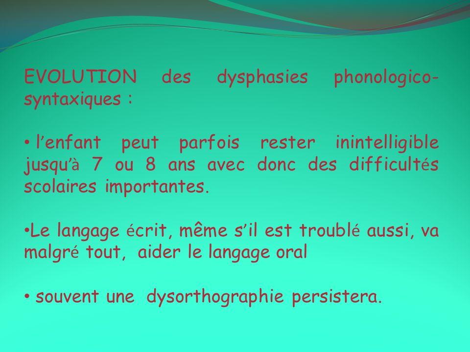 EVOLUTION des dysphasies phonologico- syntaxiques : l enfant peut parfois rester inintelligible jusqu à 7 ou 8 ans avec donc des difficult é s scolair