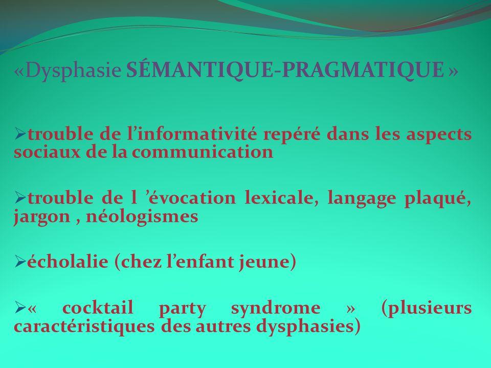 «Dysphasie SÉMANTIQUE-PRAGMATIQUE » trouble de linformativité repéré dans les aspects sociaux de la communication trouble de l évocation lexicale, langage plaqué, jargon, néologismes écholalie (chez lenfant jeune) « cocktail party syndrome » (plusieurs caractéristiques des autres dysphasies)