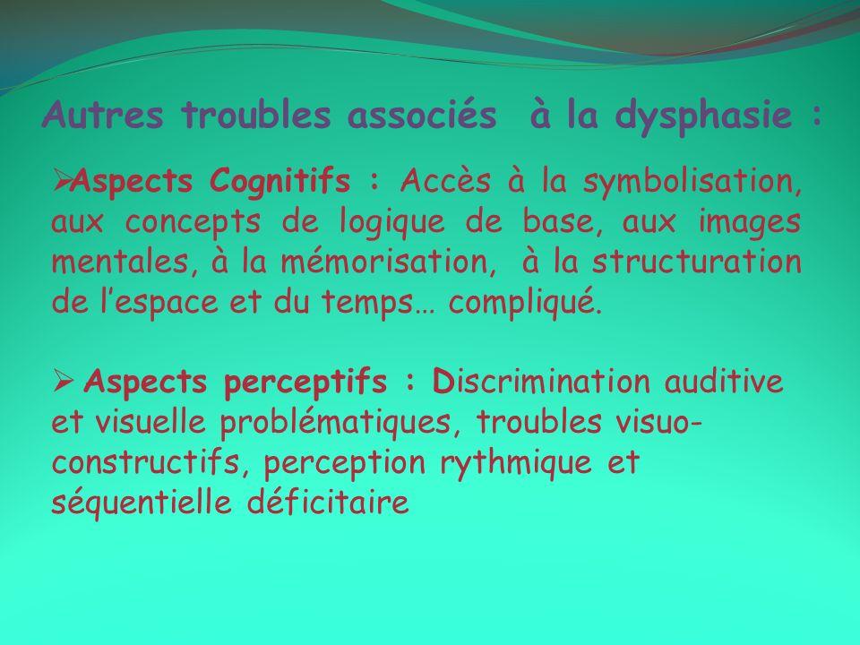 Autres troubles associés à la dysphasie : Aspects Cognitifs : Accès à la symbolisation, aux concepts de logique de base, aux images mentales, à la mémorisation, à la structuration de lespace et du temps… compliqué.