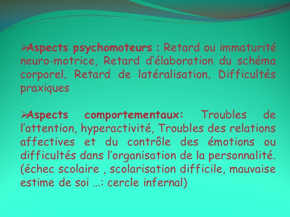 Aspects psychomoteurs : Retard ou immaturité neuro-motrice, Retard délaboration du schéma corporel, Retard de latéralisation, Difficultés praxiques As