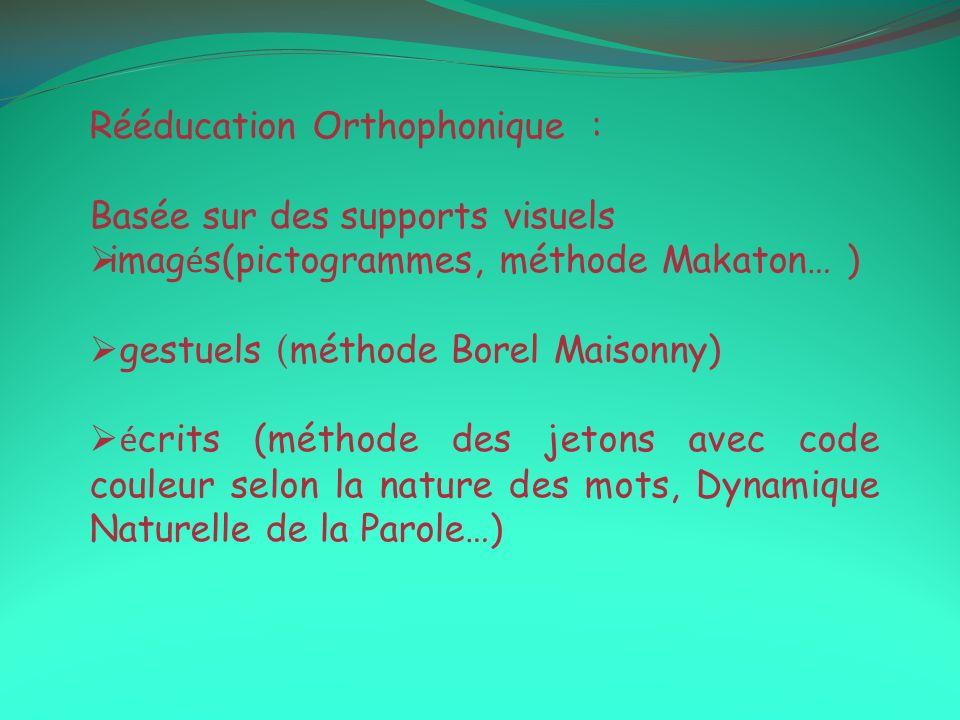 Rééducation Orthophonique : Basée sur des supports visuels imag é s(pictogrammes, méthode Makaton… ) gestuels ( méthode Borel Maisonny) é crits (métho