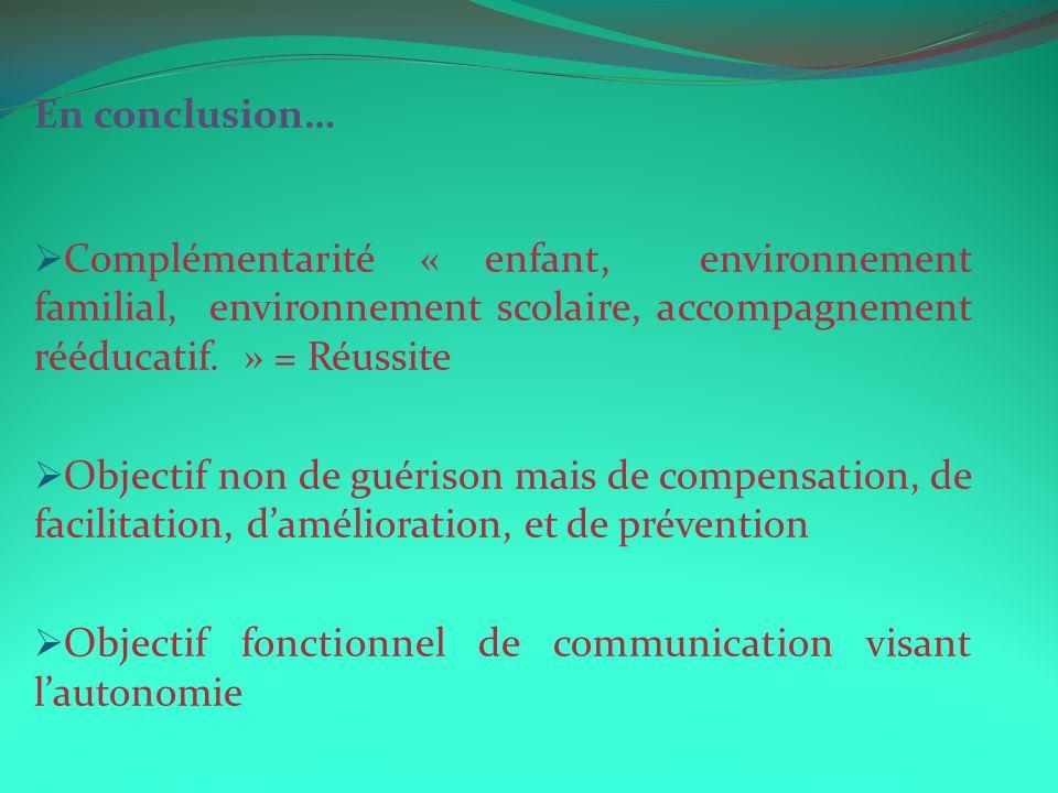 En conclusion… Complémentarité « enfant, environnement familial, environnement scolaire, accompagnement rééducatif. » = Réussite Objectif non de guéri