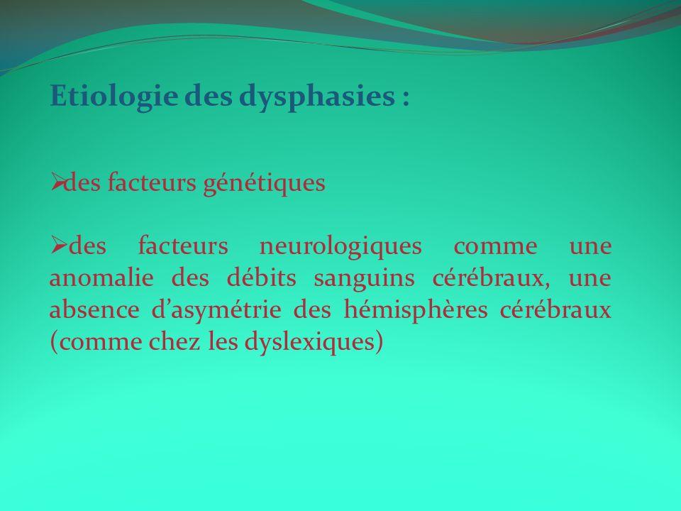 Etiologie des dysphasies : des facteurs génétiques des facteurs neurologiques comme une anomalie des débits sanguins cérébraux, une absence dasymétrie des hémisphères cérébraux (comme chez les dyslexiques)