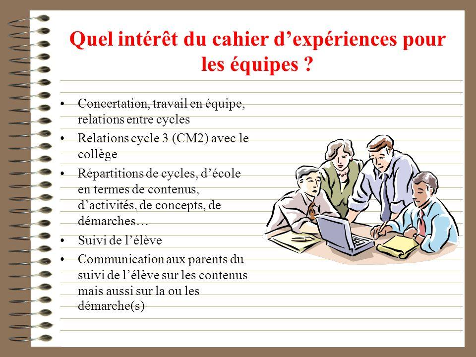 Quel intérêt du cahier dexpériences pour les équipes ? Concertation, travail en équipe, relations entre cycles Relations cycle 3 (CM2) avec le collège