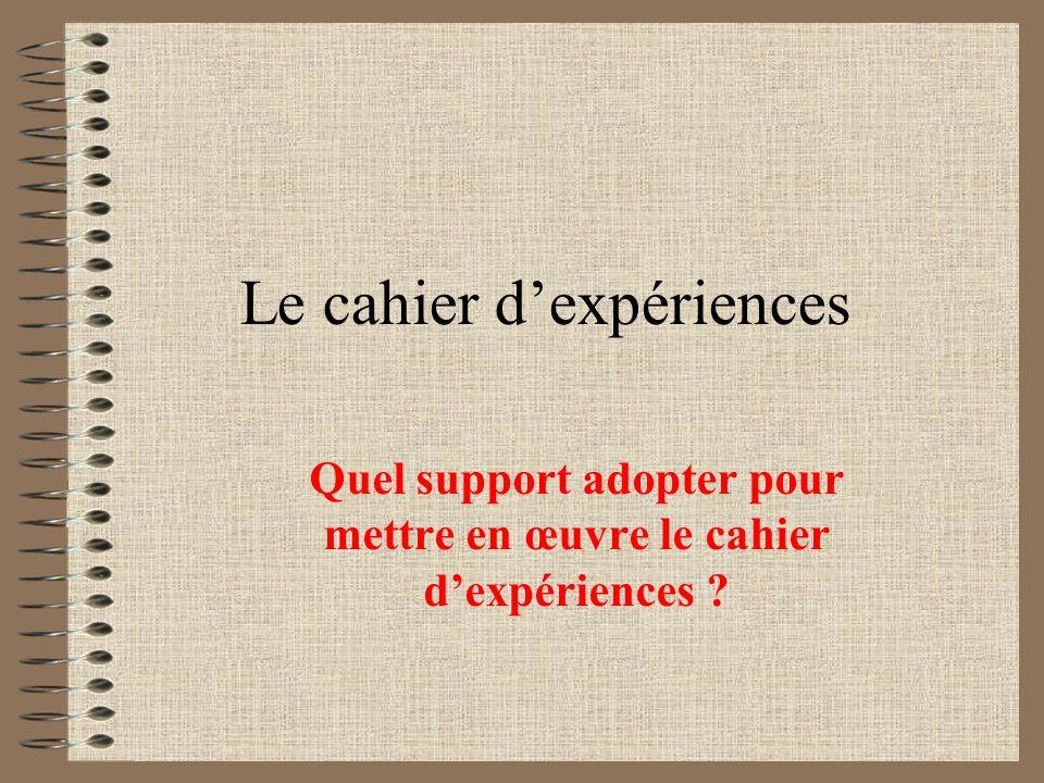 Le cahier dexpériences Quel support adopter pour mettre en œuvre le cahier dexpériences ?