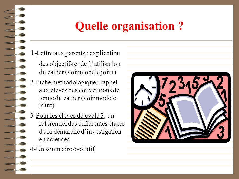 1- Lettre aux parents : explication des objectifs et de lutilisation du cahier (voir modèle joint) 2-Fiche méthodologique : rappel aux élèves des conv