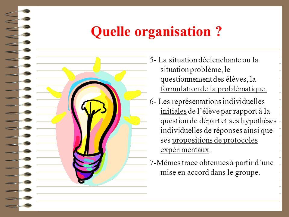 Quelle organisation ? 5- La situation déclenchante ou la situation problème, le questionnement des élèves, la formulation de la problématique. 6- Les