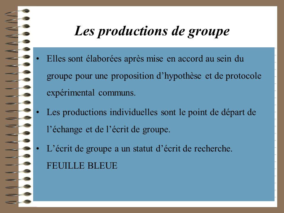 Les productions de groupe Elles sont élaborées après mise en accord au sein du groupe pour une proposition dhypothèse et de protocole expérimental com