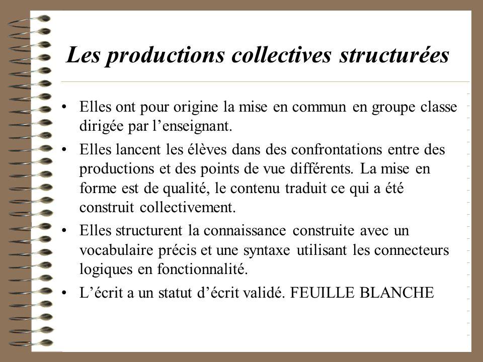 Les productions collectives structurées Elles ont pour origine la mise en commun en groupe classe dirigée par lenseignant. Elles lancent les élèves da