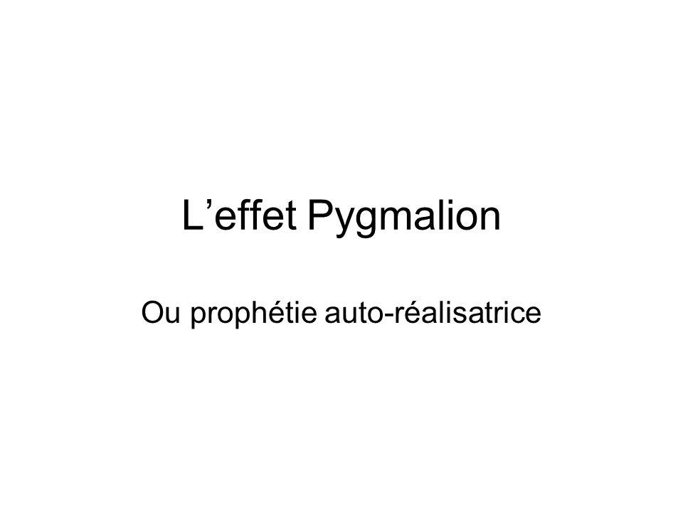 En pédagogie Leffet Pygmalion consiste à effectuer des hypothèses sur le devenir scolaire dun élève et les voir effectivement se réaliser.