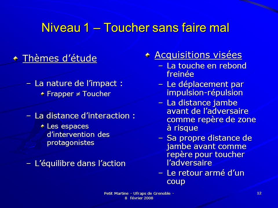 Petit Martine - Ufraps de Grenoble - 8 février 2008 12 Niveau 1 – Toucher sans faire mal Thèmes détude –La nature de limpact : Frapper Toucher –La dis