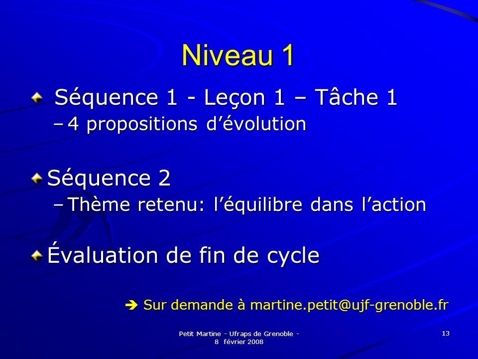 Petit Martine - Ufraps de Grenoble - 8 février 2008 13 Niveau 1 Séquence 1 - Leçon 1 – Tâche 1 Séquence 1 - Leçon 1 – Tâche 1 –4 propositions dévoluti