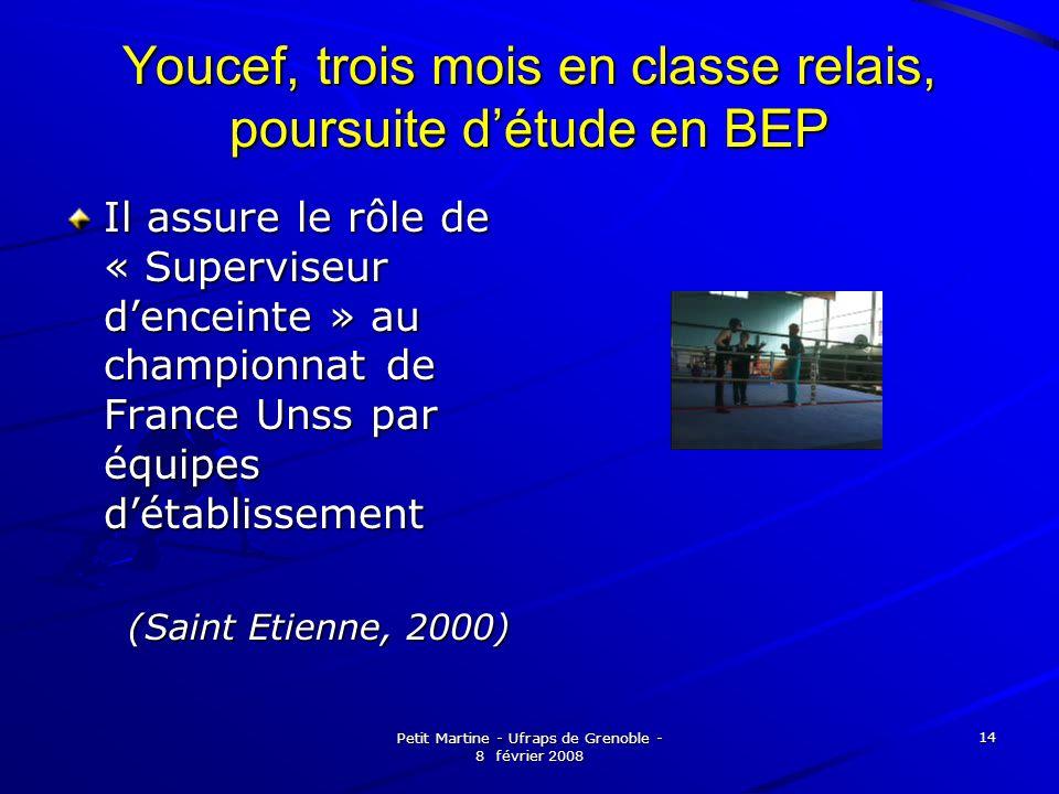 Petit Martine - Ufraps de Grenoble - 8 février 2008 14 Youcef, trois mois en classe relais, poursuite détude en BEP Il assure le rôle de « Superviseur