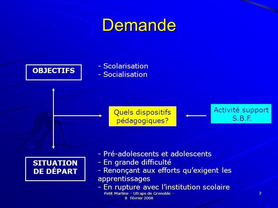 Petit Martine - Ufraps de Grenoble - 8 février 2008 2 Demande Quels dispositifs pédagogiques? Activité support S.B.F. - Pré-adolescents et adolescents