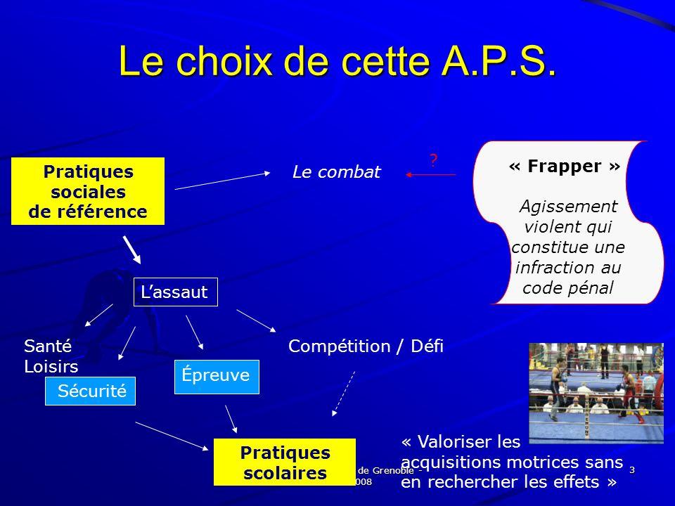 Petit Martine - Ufraps de Grenoble - 8 février 2008 3 Le choix de cette A.P.S. Pratiques sociales de référence Santé Loisirs Compétition / Défi Le com