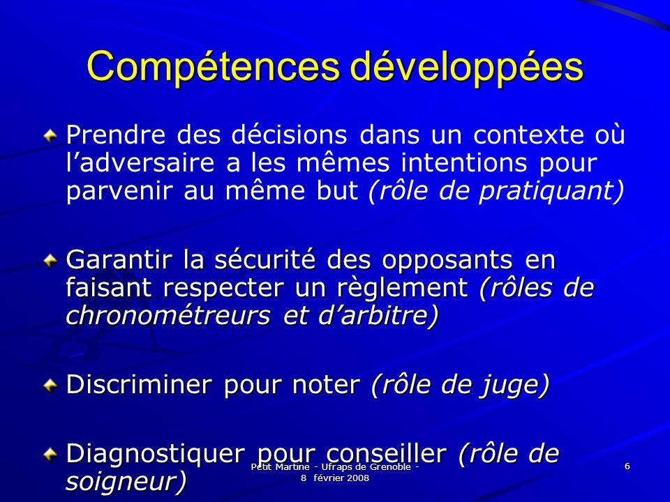 Petit Martine - Ufraps de Grenoble - 8 février 2008 6 Compétences développées Prendre des décisions dans un contexte où ladversaire a les mêmes intent