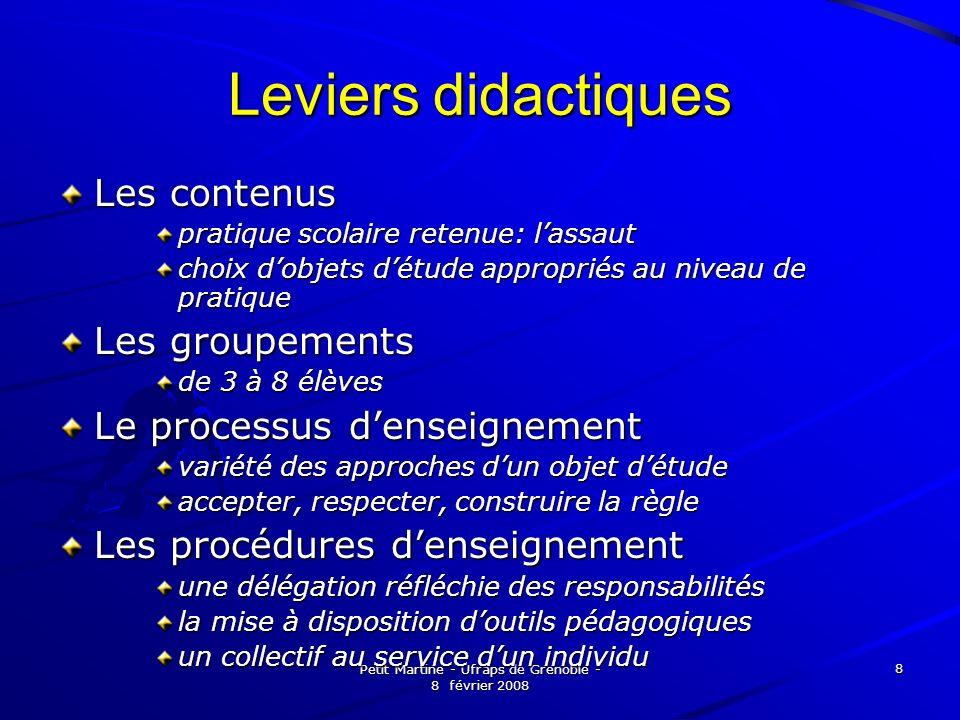 Petit Martine - Ufraps de Grenoble - 8 février 2008 8 Leviers didactiques Les contenus pratique scolaire retenue: lassaut choix dobjets détude appropr