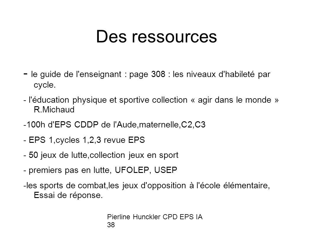 Pierline Hunckler CPD EPS IA 38 Des ressources - le guide de l'enseignant : page 308 : les niveaux d'habileté par cycle. - l'éducation physique et spo