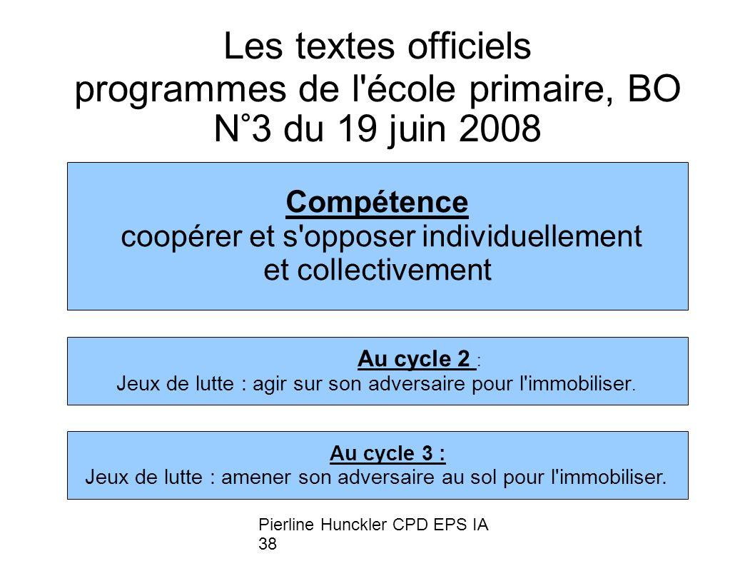 Pierline Hunckler CPD EPS IA 38 Les textes officiels programmes de l'école primaire, BO N°3 du 19 juin 2008 Compétence coopérer et s'opposer individue