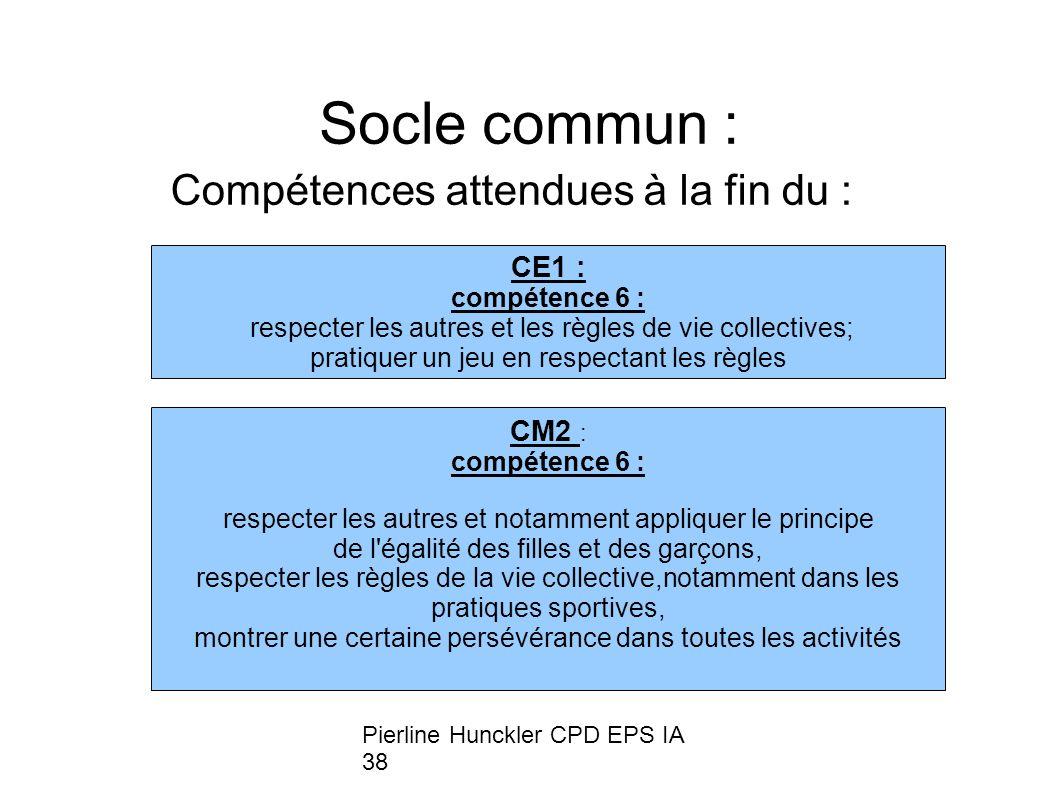 Pierline Hunckler CPD EPS IA 38 Socle commun : Compétences attendues à la fin du : CE1 : compétence 6 : respecter les autres et les règles de vie coll