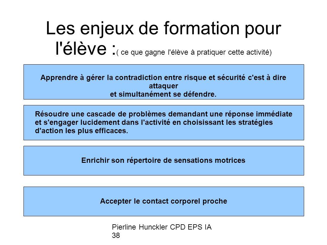 Pierline Hunckler CPD EPS IA 38 Les enjeux de formation pour l élève : ( ce que gagne l élève à pratiquer cette activité) Apprendre à gérer la contradiction entre risque et sécurité c est à dire attaquer et simultanément se défendre.