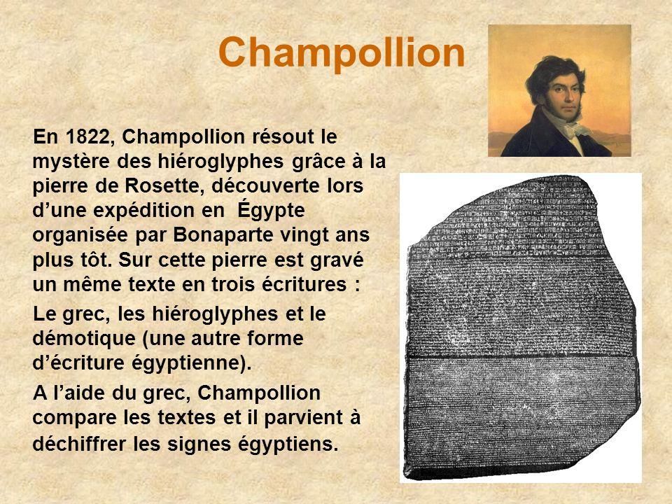 Champollion En 1822, Champollion résout le mystère des hiéroglyphes grâce à la pierre de Rosette, découverte lors dune expédition en Égypte organisée