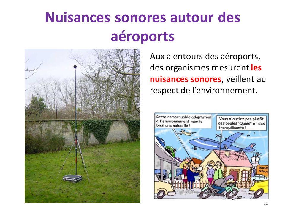 Nuisances sonores autour des aéroports 11 Aux alentours des aéroports, des organismes mesurent les nuisances sonores, veillent au respect de lenvironn