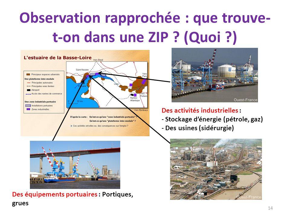 Observation rapprochée : que trouve- t-on dans une ZIP ? (Quoi ?) 14 Des équipements portuaires : Portiques, grues Des activités industrielles : - Sto