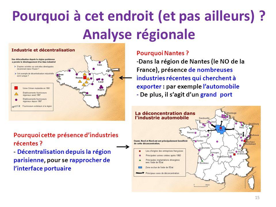 Pourquoi à cet endroit (et pas ailleurs) ? Analyse régionale 15 Pourquoi Nantes ? -Dans la région de Nantes (le NO de la France), présence de nombreus