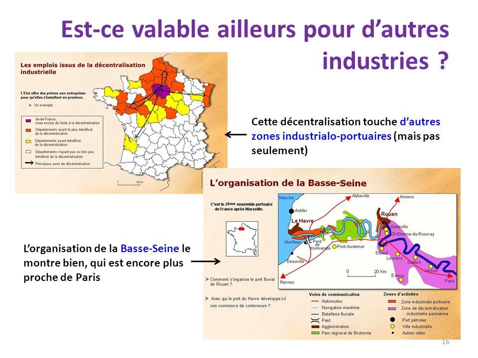 Est-ce valable ailleurs pour dautres industries ? 16 Cette décentralisation touche dautres zones industrialo-portuaires (mais pas seulement) Lorganisa