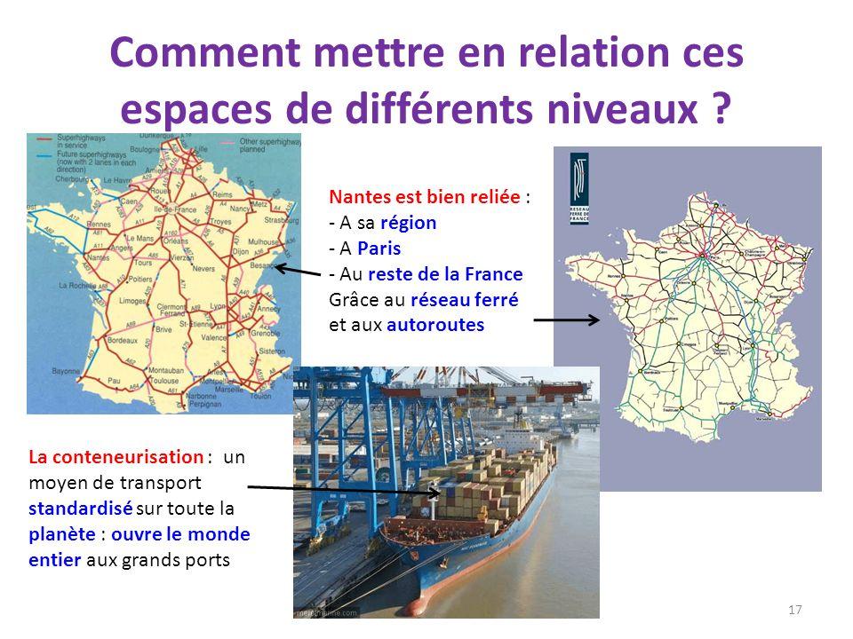 Comment mettre en relation ces espaces de différents niveaux ? 17 La conteneurisation : un moyen de transport standardisé sur toute la planète : ouvre