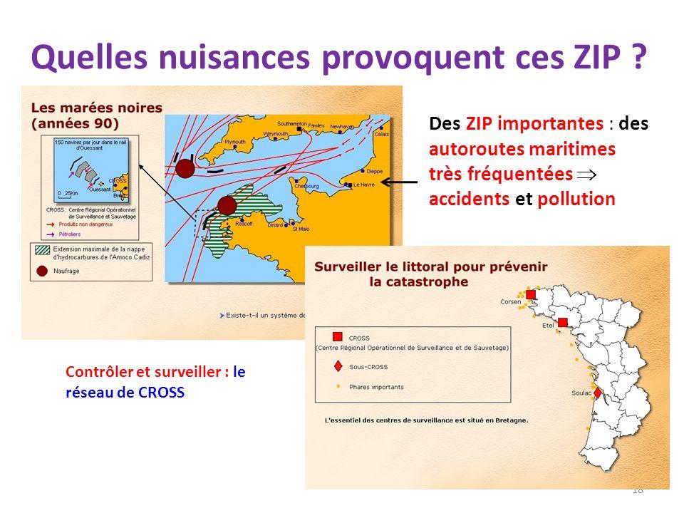 Quelles nuisances provoquent ces ZIP ? 18 Des ZIP importantes : des autoroutes maritimes très fréquentées accidents et pollution Contrôler et surveill