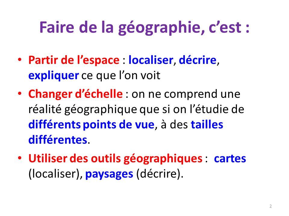 Faire de la géographie, cest : Partir de lespace : localiser, décrire, expliquer ce que lon voit Changer déchelle : on ne comprend une réalité géograp
