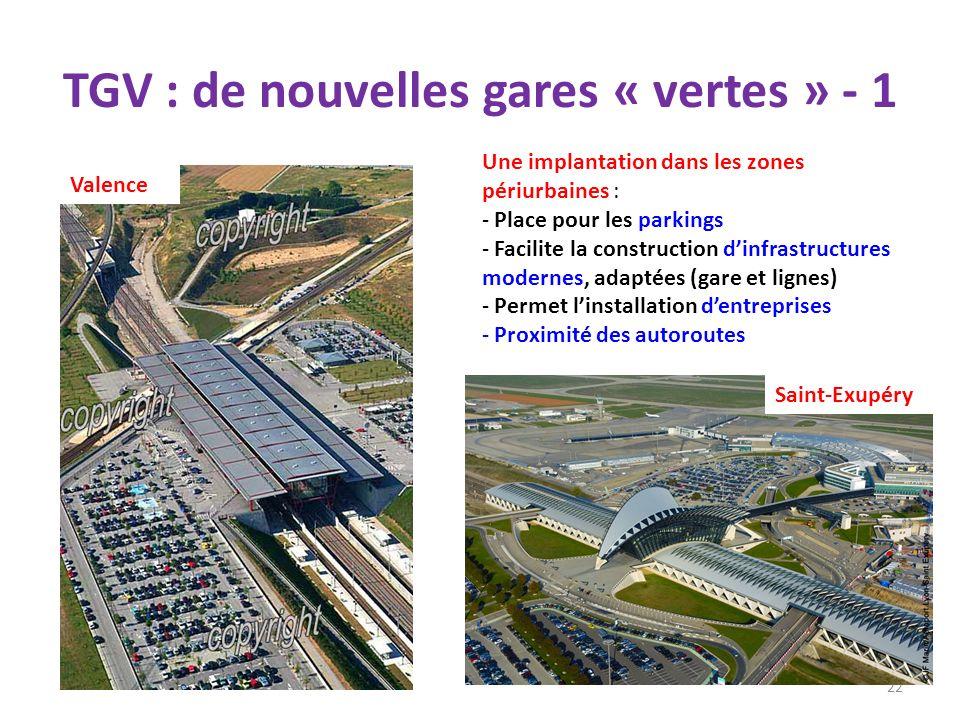 TGV : de nouvelles gares « vertes » - 1 22 Une implantation dans les zones périurbaines : - Place pour les parkings - Facilite la construction dinfras