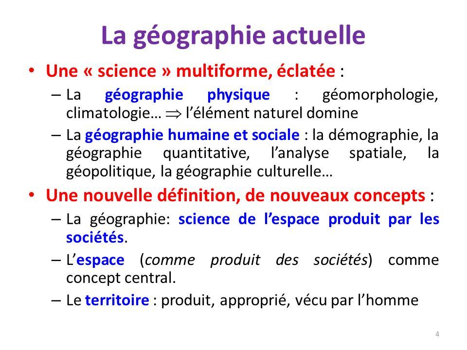 La géographie actuelle Une « science » multiforme, éclatée : – La géographie physique : géomorphologie, climatologie… lélément naturel domine – La géo