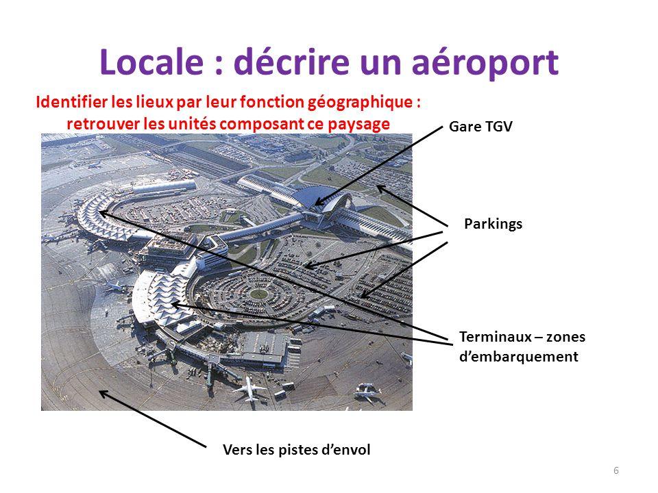 Locale : décrire un aéroport 6 Gare TGV Terminaux – zones dembarquement Parkings Vers les pistes denvol Identifier les lieux par leur fonction géograp
